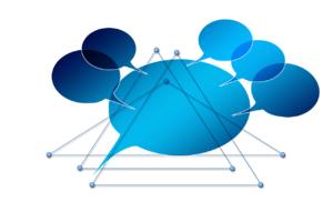 Balões de fala ligados por linhas a representar interações